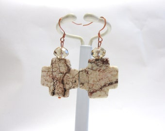 White Brown Cross Earrings Stone