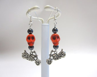 Sugar Skull Earrings Day Of The Dead Motorcycle Orange Black Hematite