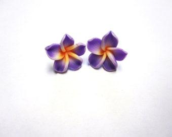 Lilac Purple Flower Earrings Sweet Hibiscus Post Earrings Lavender