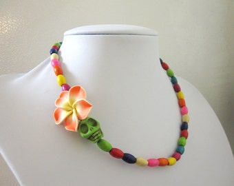 Sugar Skull Necklace Orange Green Yellow Red Blue Purple