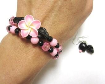 Day Of The Dead Bracelet Earring Set Sugar Skull Wrap Cuff Black Pink Flower