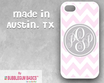 Custom Phone Case iPhone 6 5/5S 4/4S Samsung Galaxy S4 S5 - Skinny Pink Chevron Gray Circle - Monogrammed Personalized
