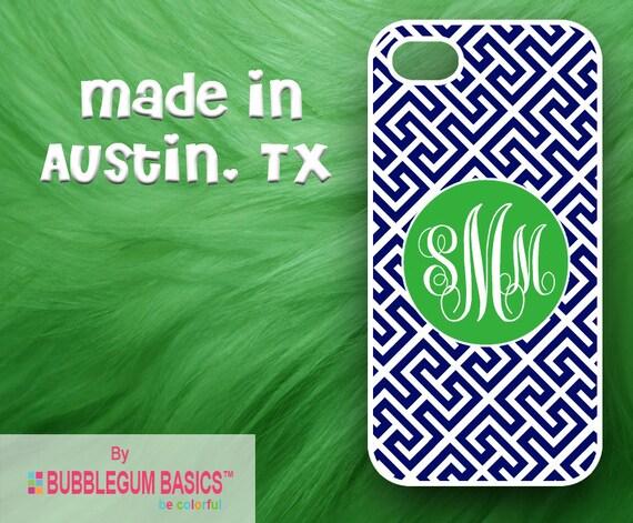 Custom Phone Case iPhone 6 5/5S 4/4S Samsung Galaxy S4 S5 - Blue Greek Diagonal Lattice Green Circle - Monogrammed Personalized