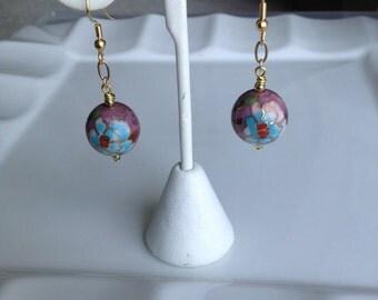 Lavender color cloisonne earrings