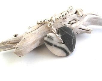 Beach Rock Jewelry Beach Stone Heart Necklace ZEBRA Mediterranean Natural Stone Beach Stone Sterling Valentine Pebble Sea Stone Necklace