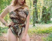 Medium Bathing Suit Wrap Around Swimsuit Leopard Turquoise Womens Animal Print Swimwear