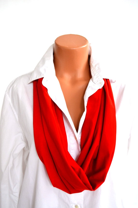 tomato infinity scarf lightweight layering fashion by