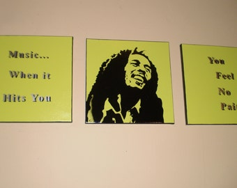 Bob Marley with Lyrics (3 piece set - Green)