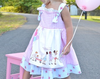 girls birthday party pink gingham ruffled apron knot dress