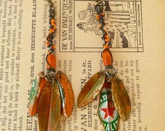 3 leave recycled  tin beer cap earrings