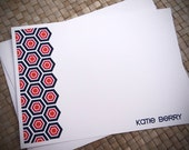 Personalized Stationery - Hexagon - Pink and Navy