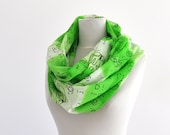Womens Accessories Scarf Long Cotton Green Neon White