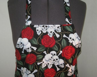Skulls And Roses Women Apron (Black, White And Red)