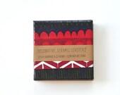 Ceramic Coasters Marimekko Geometric Pattern Dark Blue Red , set of 4