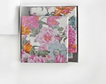 Ceramic Tile Coasters Pastel Flowers Dusty Pink Antique Rose Bridesmaid Gift, set of 4