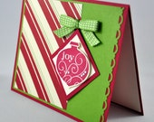Christmas Greeting Card, Red, Green, Ivory, Vanilla, Joy, Ornament, Bow, Stripes, Seasons Greetings, Merry Christmas, Stamped, Blank Inside