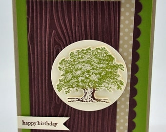 Happy Birthday Greeting Card, Birthday, Masculine, For Him, For Her, Tree, Green, Brown, White, Nature, Wood, Stamped, Blank Inside