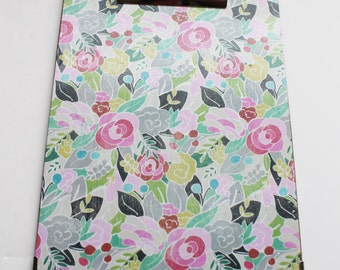 Small Decorative Clipboard--Bohemian Flower, Pink and White Lattice