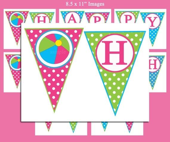 Happy Birthday Banner Printable Pool Party Waterslide