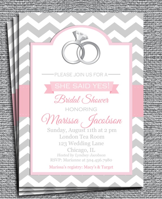 She Said Yes Invitation Printable or Printed with FREE SHIPPING You
