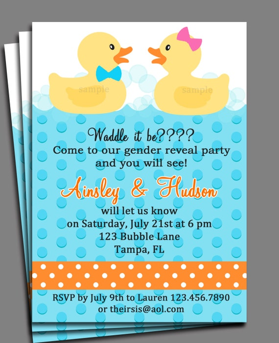 Rubber duck gender reveal invitation printable or printed with free il570xn filmwisefo