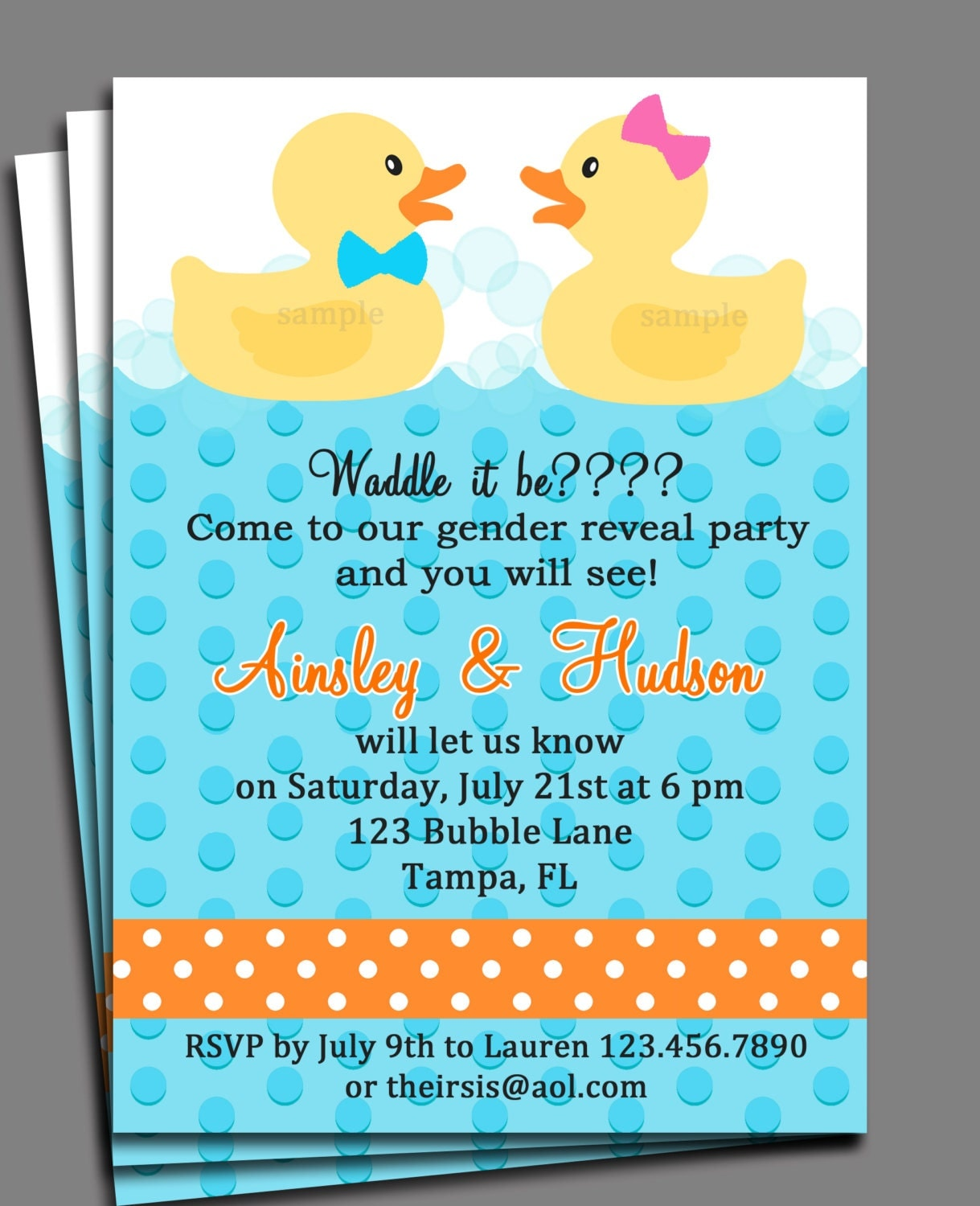 Rubber Duck Gender Reveal Invitation Printable Or Printed With