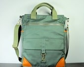 Messenger Bag in Olive Green Twill/ Tan Leather/  Men/ Crossbody/ Military Look/ Multi Pockets