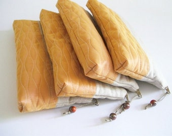 Bridesmaid Proposal Orange Wedding Purses, Set of 4 Bridesmaid Bags, Country Wedding Gift Clutches for Bridesmaids