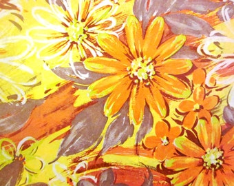 Vintage Wrapping Paper - One Full sheet - Sunny Fall Flowers Gift Wrap