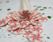 Holiday pinwheel polymer clay cane Christmas colors red green white swirl candy mint 1pcs for miniature foods decoden and nail art supplies