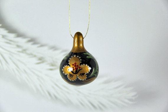 Khokhloma  Inspired, Gold and Black Gourd Ornament 8, Christmas Ornament, Hostess Gift