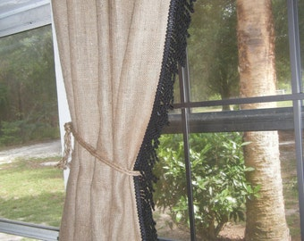 Burlap Country Curtains 76 wide for 2 X