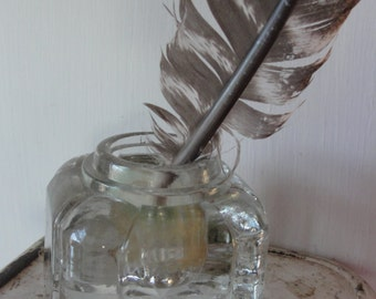 Antique cut glass bottomed ink well