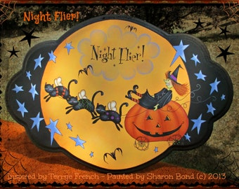 E PATTERN - Night Flier - Black Cats lead the Witch on her Way - Inspired by Terrye French - Painted by Sharon Bond - FAAP