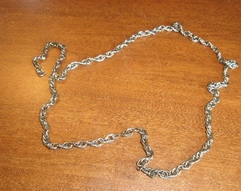 vintage necklace long silvertone chain