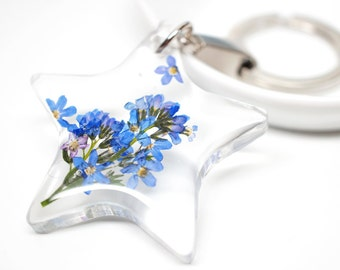 Blue 'forget-me-not' flower flower Star shaped clear resin keychain/ key holder/ charm