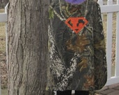 Super Hero Mossy Oak Camo, Camouflage Cape for Kids Appliqued  Superman Symbol, Personalized with Your Child's Initial, You Pick Colors