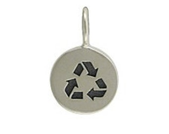 Silver Round Recycle Charm