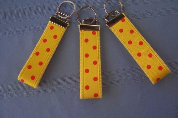 Key Fob, Wristlet- Yellow & Orange Polka Dot