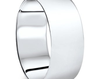 Men's 950 Platinum 9mm Dome Plain Wedding Band High Polish