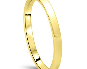 Simple Yellow Gold 2MM Band, High Polished Wedding band, 2MM Dome High Polished Anniversary Ring