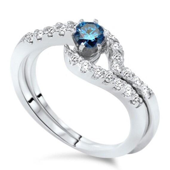 3 4CT Blue & White Diamond Engagement Wedding Ring Set 14K