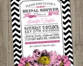 Pink Bridal Shower Invitation, Hot Pink Peonies and Printable Bridal Shower Invitation, Floral Bridal Shower Invitation