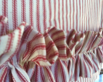 Red ticking stripe tea towel with RUFFLE guest towel