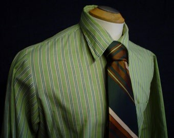 "60s 16"" Kent Striped Men's Big Collar Dress SHIRT & Poly Tie Green"