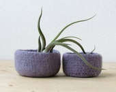 Free Shipping - Purple grey felted bowl / Two nesting bowls in light lilac / Cozy gift Air plant holder - Wool vessel