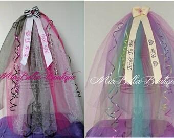 BACHELORETTE VEIL, Tiara Bridal Shower Veil, Bride To Be Veil, Party Veil, Future Mrs. Veil, Soon To Be Mrs. Veil, CUSTOM Colors Embroidered