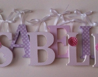 Wooden letters for nursery in pink, and white spelling out your child's name letters stand up initial monogram