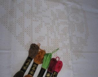 """Inspiration kit.  2 17"""" white stamped on X stitch fabrics,  same pattern"""