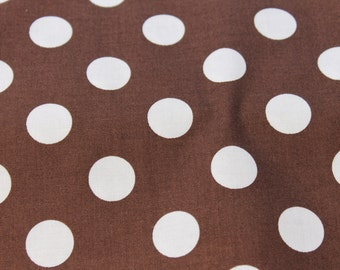 Brown and White Polka Dot Cotton Fabric by Riley Blake Design. Aprons, Nursing Covers, Quilts, Totes,